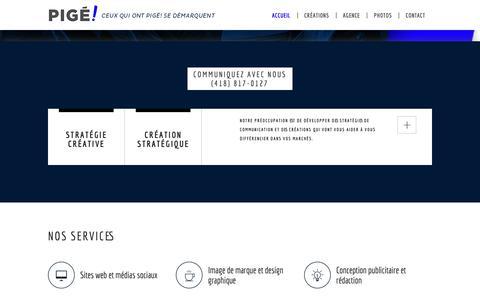 Screenshot of Home Page pigepub.ca - Agence de marketing - Pigé! - captured Sept. 28, 2018