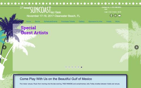 Screenshot of Home Page suncoastjazzclassic.com - Suncoast Jazz Classic – November 17-19, 2017 Clearwater Beach, FL - captured Oct. 24, 2017