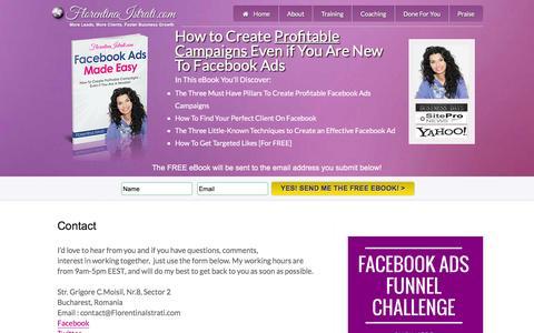 Screenshot of Contact Page florentinaistrati.com - Contact – Facebook Ads Made Easy - captured Aug. 4, 2016