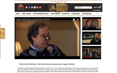 Screenshot of Testimonials Page legacybilliards.com - Testimonials & Reviews | Legacy Billiards - captured July 17, 2018