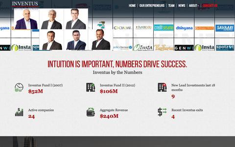 Screenshot of Contact Page Team Page inventuscap.com - Home - Inventus - captured Nov. 5, 2014