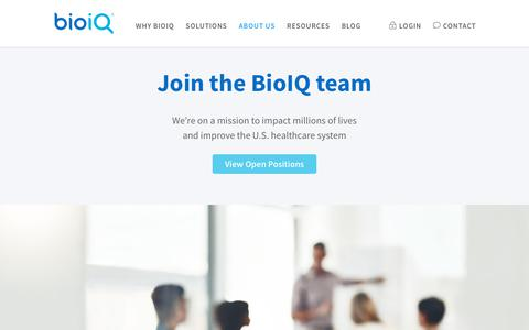 Screenshot of Jobs Page bioiq.com - Start your career at BioIQ. Come join us, it's fun here! - captured April 19, 2019