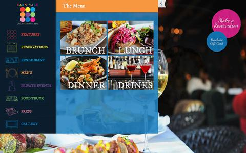 Screenshot of Menu Page carnivalechicago.com - Carnivale Chicago Menus - Brunch, Lunch, Dinner, Drinks - captured July 15, 2017