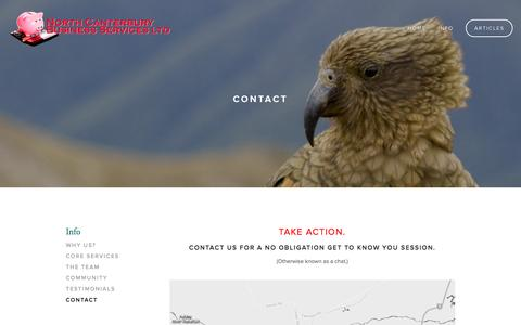 Screenshot of Contact Page ncbiz.co.nz - Contact — North Canterbury Business Services Ltd - captured Oct. 7, 2014