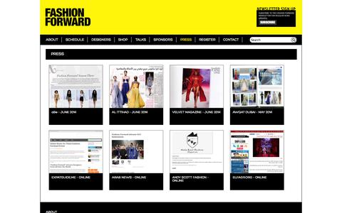 Screenshot of Press Page fashionforward.ae - PRESS «  FASHION FORWARD - captured Oct. 5, 2014