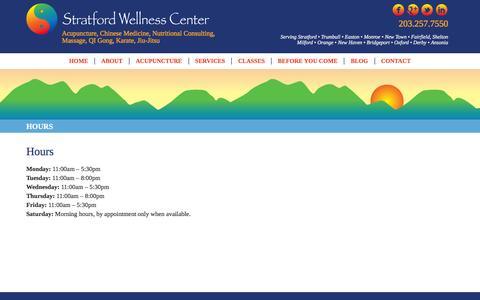 Screenshot of Hours Page stratfordacupuncture.com - Stratford Wellness Center: Acupuncture, Chiropractic & Massage - captured Feb. 16, 2016