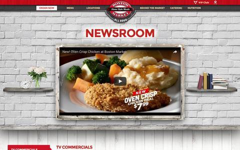 Screenshot of Press Page bostonmarket.com - News Room - Boston Market - captured July 30, 2016