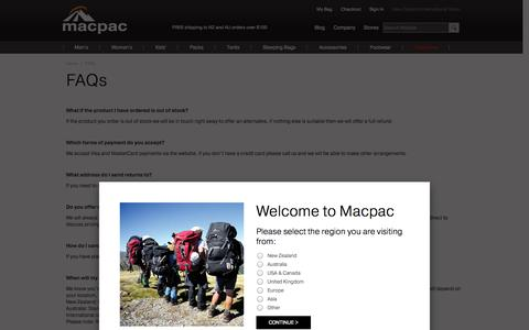 Screenshot of FAQ Page macpac.co.nz - FAQs | Macpac - captured Sept. 23, 2014