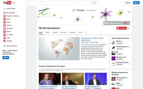 Screenshot of YouTube Page youtube.com - TELUS International  - YouTube - captured Oct. 26, 2014