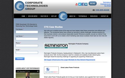 Screenshot of Case Studies Page ctgusa.net - Case Studies - Corporate Technologies Group - captured Oct. 3, 2014
