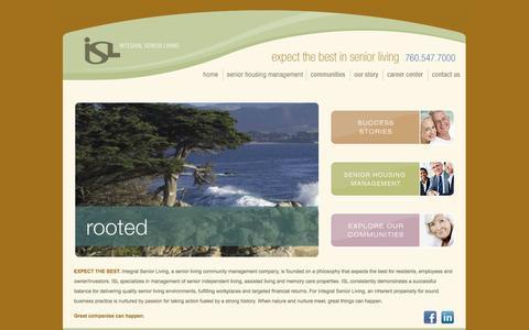 Screenshot of Home Page islllc.com - Senior Care - Integral Senior Living - captured Oct. 6, 2014