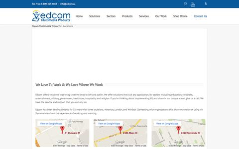 Screenshot of Locations Page edcom.ca - Locations - Edcom Multimedia Products - captured Oct. 2, 2014