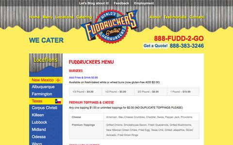 Screenshot of Menu Page fuddsburger.com - Menu - Fuddsburger.com - captured May 20, 2016