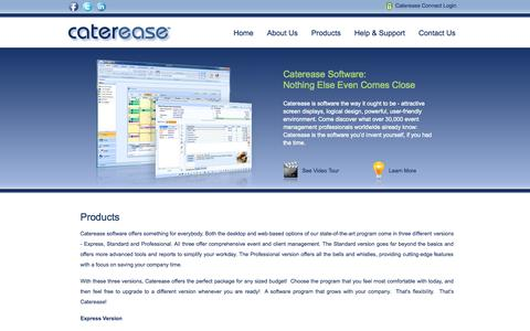 Screenshot of Products Page caterease.com - Catering Software, Event Management Software for professionals - Caterease: Products - captured Nov. 4, 2014