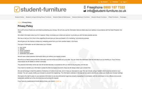 Screenshot of Privacy Page student-furniture.co.uk - Privacy Policy - captured Oct. 8, 2014