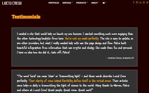Screenshot of Testimonials Page lucidcrew.com - Lucid Crew : Testimonials - captured Sept. 30, 2014