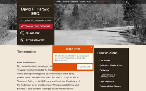 Screenshot of Testimonials Page hartwig-law.com - Testimonials | David R. Hartwig, Esq. | Salt Lake City, Utah - captured June 29, 2018