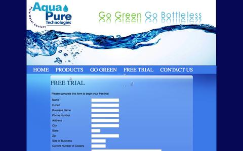 Screenshot of Trial Page aquapuretechnologies.net - Pure Water Coolers - Drinking Water Solutions - Filtration Systems :: Aqua Pure Technologies - captured Oct. 4, 2014