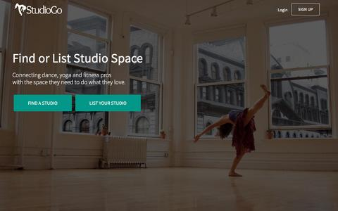 Screenshot of Home Page studiogo.co - StudioGo - Find or List Studio Space - captured May 14, 2016