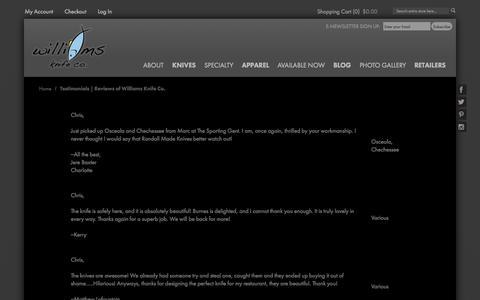 Screenshot of Testimonials Page williamsknife.com - Testimonials | Reviews of Williams Knife Co. - captured Oct. 9, 2014