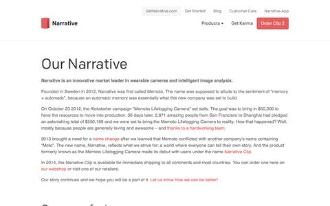 Screenshot of About Page getnarrative.com - About Narrative & Company facts - captured Sept. 10, 2019