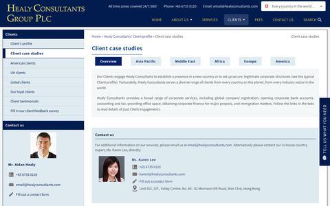 Screenshot of Case Studies Page healyconsultants.com - Client case studies | Healy Consultants - captured Sept. 28, 2018