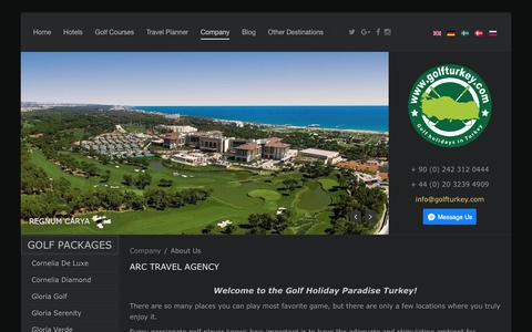 Screenshot of About Page golfturkey.com - ARC Travel Agency - Eros Travel Ltd - captured Oct. 7, 2017