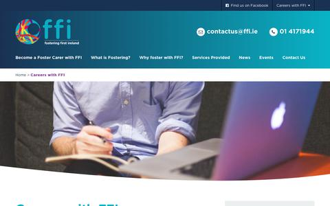 Screenshot of Jobs Page fosteringfirstireland.ie - Fostering First Ireland | Careers with FFI | Fostering First Ireland - captured Oct. 14, 2017