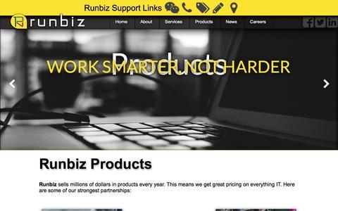 Screenshot of Products Page run.biz - Runbiz Products - captured Dec. 1, 2016