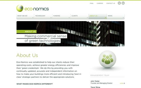 Screenshot of About Page eco-nomics.co.uk - Eco-Nomics | Helping you reduce operating costs and energy consumption - captured Oct. 1, 2014