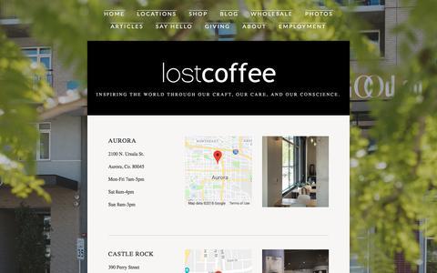 Screenshot of Locations Page lostcoffee.com - Locations — LostCoffee - captured July 23, 2018