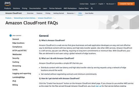 Screenshot of FAQ Page amazon.com - FAQs   CDN, Zone Apex, Edge Cache   Amazon CloudFront - captured May 8, 2019