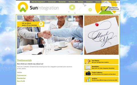 Screenshot of Testimonials Page suninteg.com - Sun Integration - Testimonials - captured Oct. 8, 2014