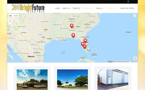 Screenshot of Contact Page Locations Page brightfutureelectric.com - Locations | Bright Future Electric - captured Aug. 3, 2018
