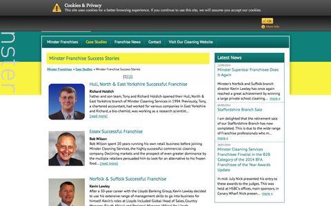 Screenshot of Case Studies Page minsterfranchise.co.uk - Minster Franchise Success Stories | Minster Franchise - captured Oct. 9, 2014
