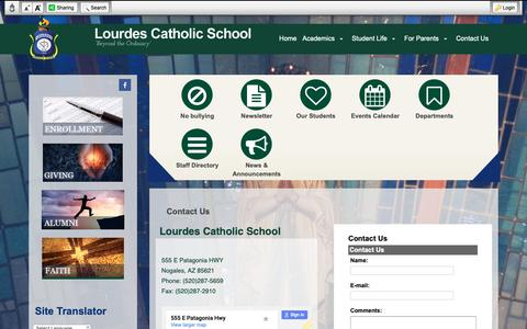 Screenshot of Contact Page lcsnogales.org - Contact Us - Lourdes Catholic School - captured Oct. 28, 2018