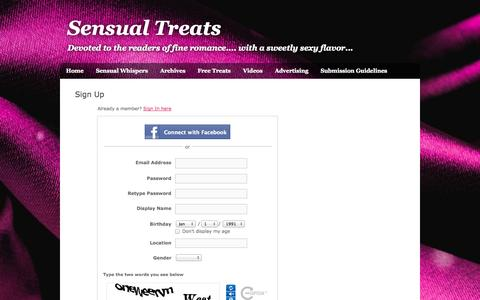 Screenshot of Signup Page webs.com - Signup - Sensual Treats - captured Oct. 27, 2014