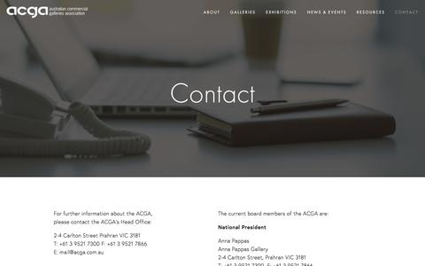 Screenshot of Contact Page acga.com.au - Contact — Australian Commercial Galleries Association - captured Feb. 6, 2016