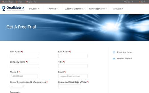 Screenshot of Trial Page qualmetrix.com - Get a Free Trial - captured Nov. 6, 2016