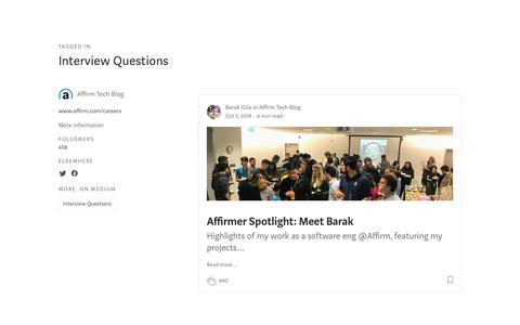 Screenshot of FAQ Page affirm.com - Interview Questions – Affirm Tech Blog - captured Dec. 4, 2019