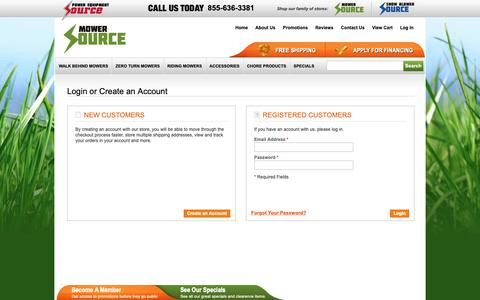 Screenshot of Login Page mowersource.com - Customer Login | Mower Source - captured Sept. 29, 2018