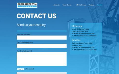 Screenshot of Contact Page generalcranes.com.au - General Cranes Australia - Leading Crane Lifting Solutions Company - captured May 16, 2017
