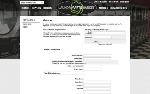 Screenshot of Signup Page laundrypartsmarket.com - Laundry Parts Market - American Dryer Corporation, Alliance, Cissell, Continental Girbau, Dexter, Huebsch, IPSO, Maytag, Speed Queen, Unimac, Wascomat, Whirlpool, affordable generic parts and more. - captured Sept. 29, 2014