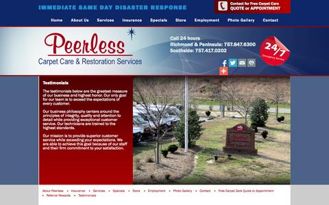 Screenshot of Testimonials Page peerlessva.com - Testimonials - Fire and Water Restoration, Carpet Cleaning, Mold Remediation, Construction in Greater Hampton Roads| Peerless Carpet Care & Restoration - captured Nov. 1, 2014