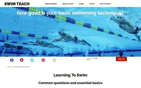 Screenshot of FAQ Page swim-teach.com - Learning To Swim and The Essential Basics You Will Need To Know - captured Feb. 16, 2016