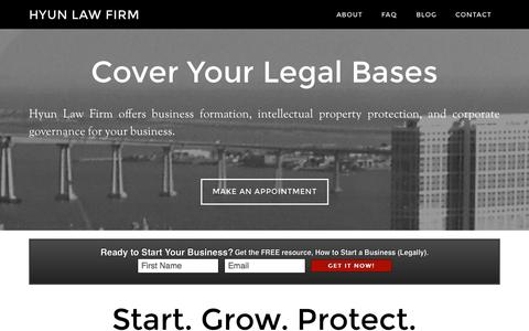 Screenshot of Home Page hyunlawfirm.com - Hyun Law Firm – Business Lawyer - captured Sept. 30, 2014