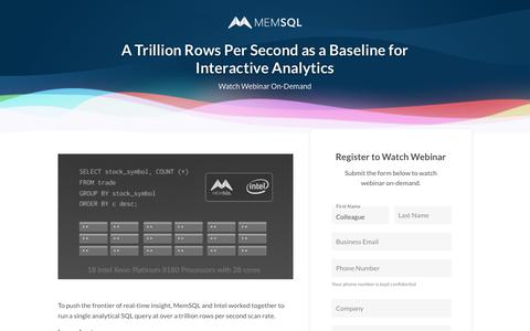 Screenshot of Landing Page memsql.com - MemSQL is the No-Limits Database Powering Modern Applications and Analytical Systems - captured Sept. 20, 2018