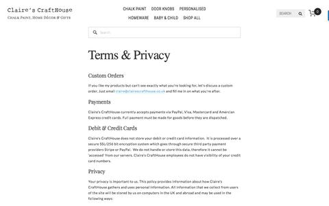 Screenshot of Privacy Page clairescrafthouse.co.uk - Terms & Privacy — Claire's CraftHouse | Everlong Chalk Paint, Home Décor and Personalised Gifts - captured May 18, 2017