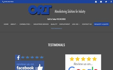 Screenshot of Testimonials Page orttool.com - Testimonials | ORT Tool & Die Corporation - captured Oct. 18, 2018