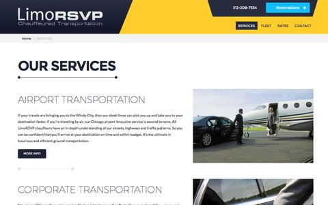 Screenshot of Services Page limorsvp.com - Chicago Limousine Services: A Full Range Available - captured Aug. 30, 2016